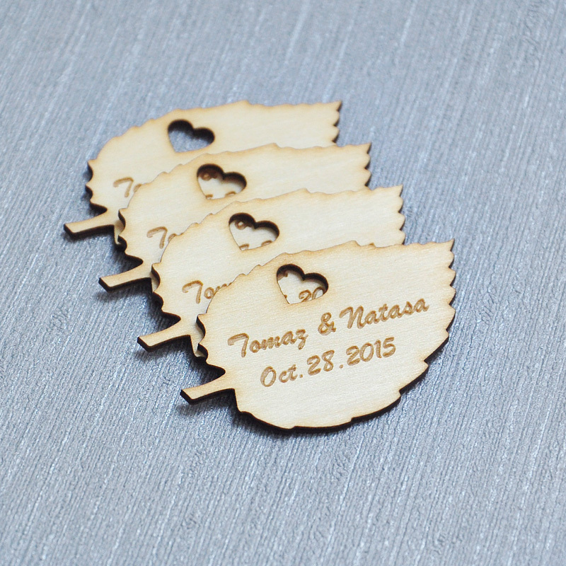 Custom Wedding Tag, Engraved Wooden Tags, Personalized Wedding Favors, Rustic Wood Tag, Personalized Wood Leaves 50pcs(China (Mainland))