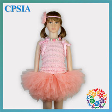 Kids Party Decoration Princess Dress Little Girls Prom Necklace Headband Lace Top Tulle Dress Frocks Design Outfit For Baby Girl(China (Mainland))