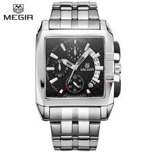 Buy MEGIR Mens Stainless Steel 6 Hands Chronograph Watch Watches Men Luxury Brand Square Watch Business Quartz-Watch Megir 2018 for $25.90 in AliExpress store
