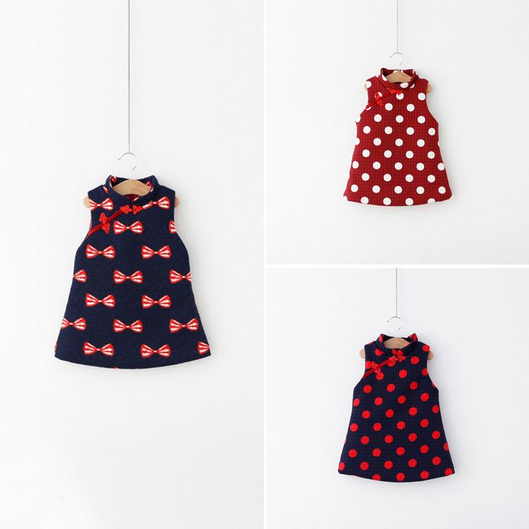 2015 winter new style children dress girls dress retro style children cheongsam girls cheongsam fashion kids dress(China (Mainland))