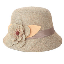 Newly Design 2015 Hot Sales Cheap Nice New Fashion Women Flax Flower Hat Bowler Billycock Cap (China (Mainland))