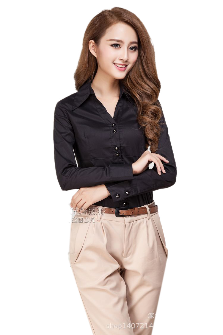 OL ladies long sleeve black button down shirt / Siamese ...