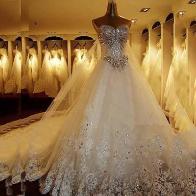 2015 Quality Luxurious Crystal Sparkling Diamond Bling Wedding Dresses Luxury Bling Long Trailing Wedding Dress Bridal Gown(China (Mainland))