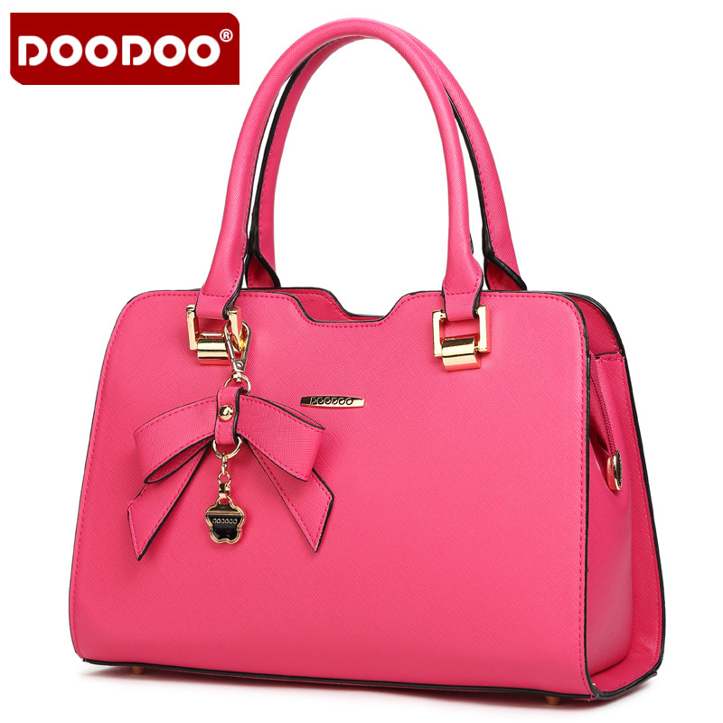 DOODOO Bow-Knot Sweet Women Bags PU Leather Ladies Shoudler Bags Luxury Handbags Women Bags Designer Women Messenger Bags(China (Mainland))