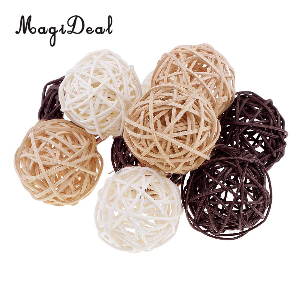 6 Pieces Wicker Vintage Sepak Takraw Ball 7 Cm Wicker Rattan Ball Ornament