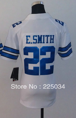 Free Shipping Cheap Women's American Game Football Jersey #22 Emmitt Smith White Jersey Size S-XXL Embroidery name and number(China (Mainland))