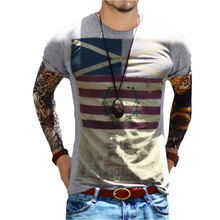 Top Fashion Mens Crew Neck Tee Cotton Fitness Sexy T Shirt With Us Flag Print All Sizes Retro Style