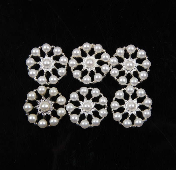 120pcs/lot 23MM FACTORY PRICE Handmade Clear Cute Alloy Rhinestone Flower Buttons+Pearl For Wedding Accessories/Headwear