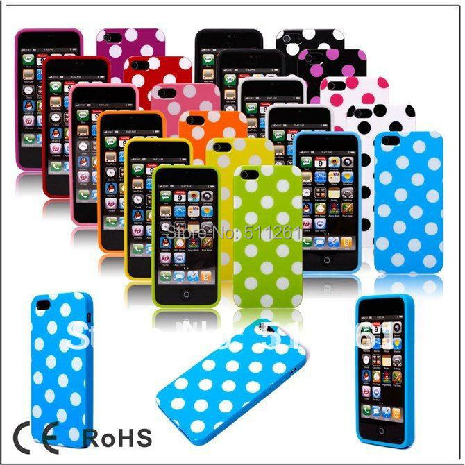 Newest Candy Wave Point Polka Dots TPU Back Shockproof Soft Case for Apple iphone 5 5S 5G Cell Phone Protective Cover Bags(China (Mainland))