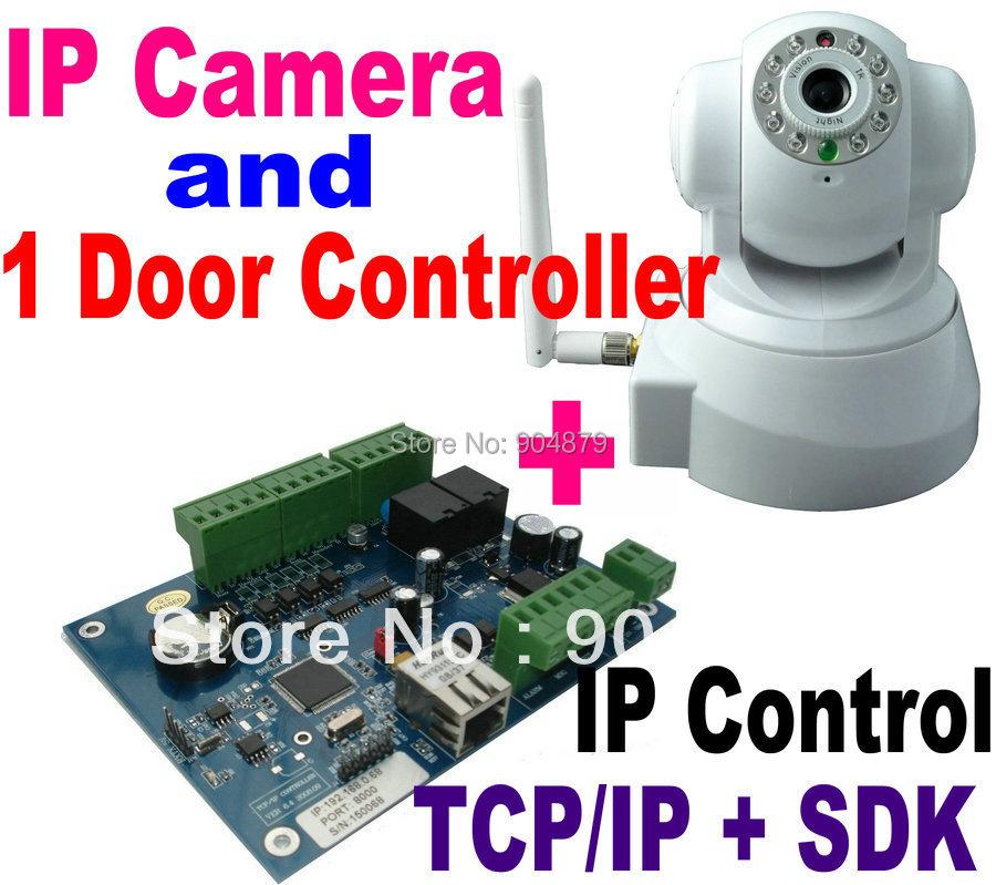 IP Camera CCTV Video Monitoring Camera+1 Door Access Controller Panel Board+TCP/IP+Web Browser IP Control+Software Management(China (Mainland))