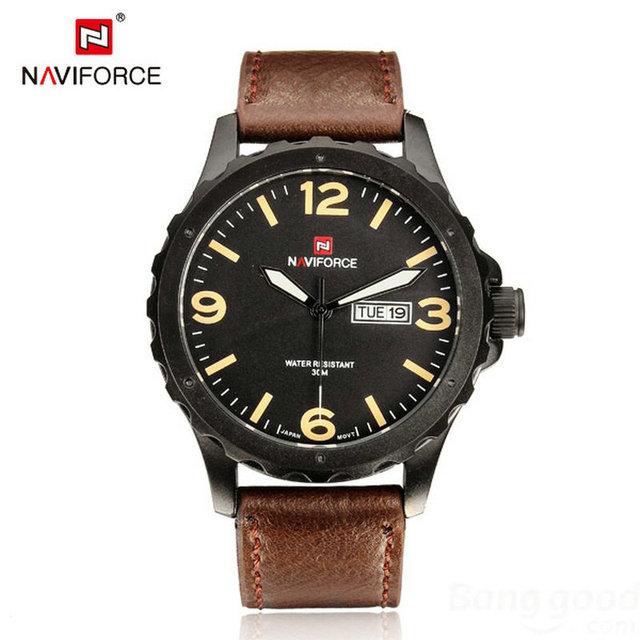 2016 Relojes хомбре новый бренд черный военная кварцевые часы ремень из натуральной кожи неделя дата мода свободного покроя наручные часы