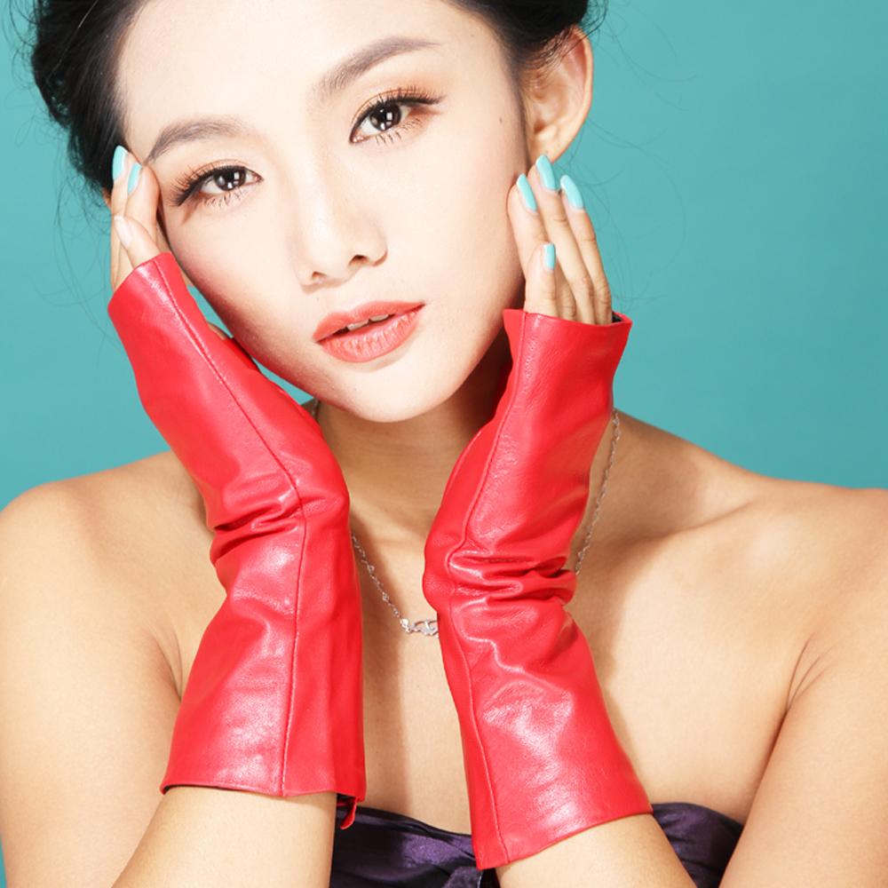 Half finger leather gloves female fashion medium-long fingerless sheepskin gloves fashion brief