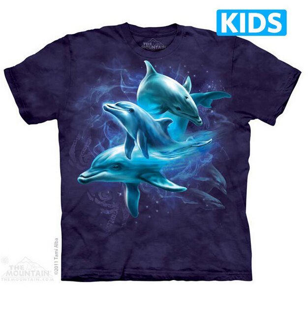 Children and Women 3D short sleeve t shirt THE*MOUNTAIN 100% cotton Dolphin Collage kids t-shirt(China (Mainland))