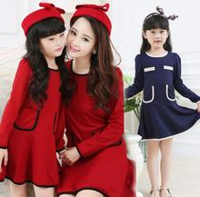 Family Clothes Fashion Dress for Mother and Girl/Daughter Women & Girls Dress Spring and Autumn (Color: Red, Navy) FL521