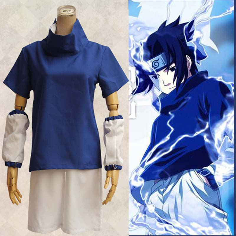 Athemis Naruto Uchiha Sasuke Cosplay Costume Anime Cosplay Adult Costume Suit Top+Short Stitched High Quality Spot Fast Shipping(China (Mainland))