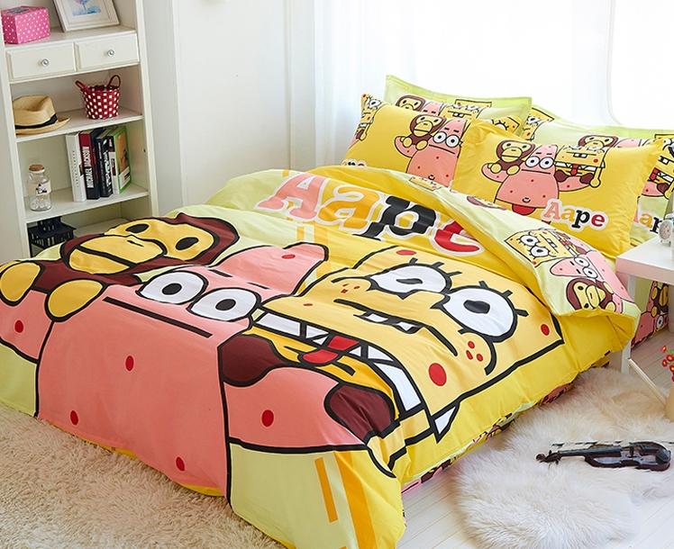 100 Cotton 3 4pcs Kids Spongebob Fitted Sheets Queen Duvet