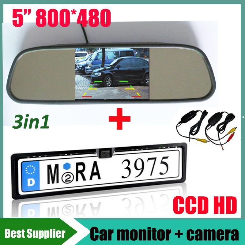 car monitor and 2.4G wireless CCD HD car rear view parking camera Car License Plate Frame Rear View Camera For EU European Car(China (Mainland))