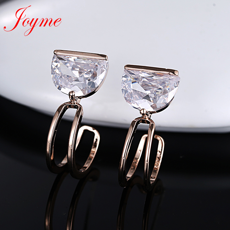 Joyme cushion stud earrings for women trendy cubic zirconia rose gold plated casual earrings Valentines Day gift BR4315Y-ES<br><br>Aliexpress