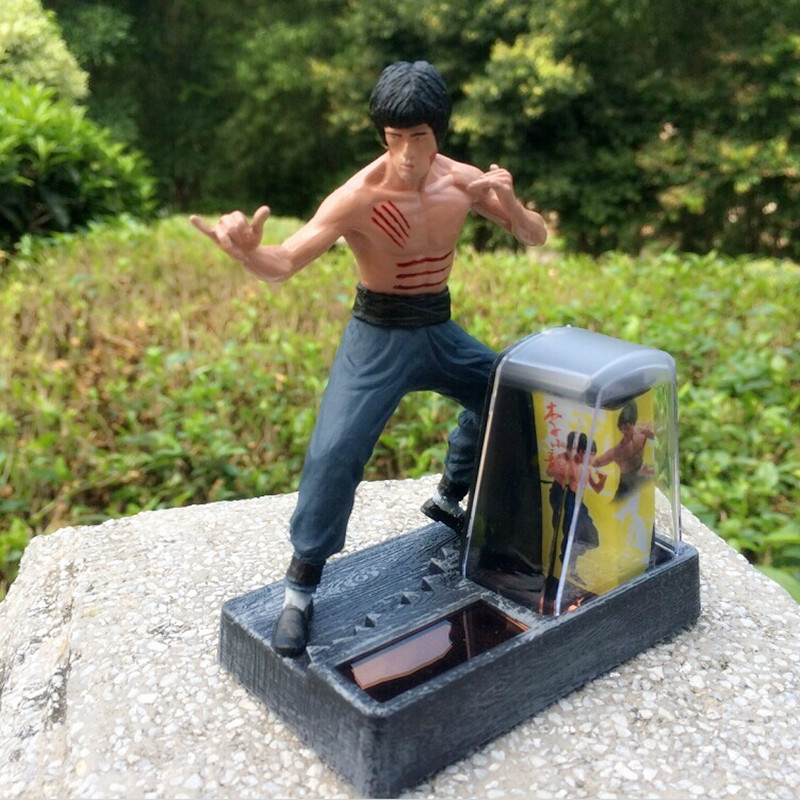 Solar Energy Toys Bruce Lee Doll Model Solar Powered Plaything Car Decoration Bruce Lee Ornaments Classic Car Collection(China (Mainland))