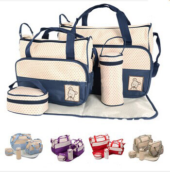 2015 new fashion 5pcs set baby bags for mom designer baby diaper bags mother bag for baby high. Black Bedroom Furniture Sets. Home Design Ideas