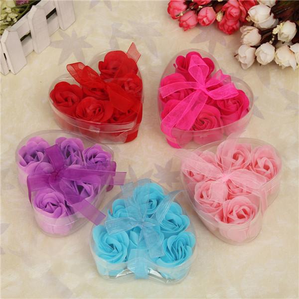 6Pcs/Box Colorful Heart-Shaped Rose Soap Flower Romantic Wedding Party Gift Handmake Flower Petals Decor(China (Mainland))