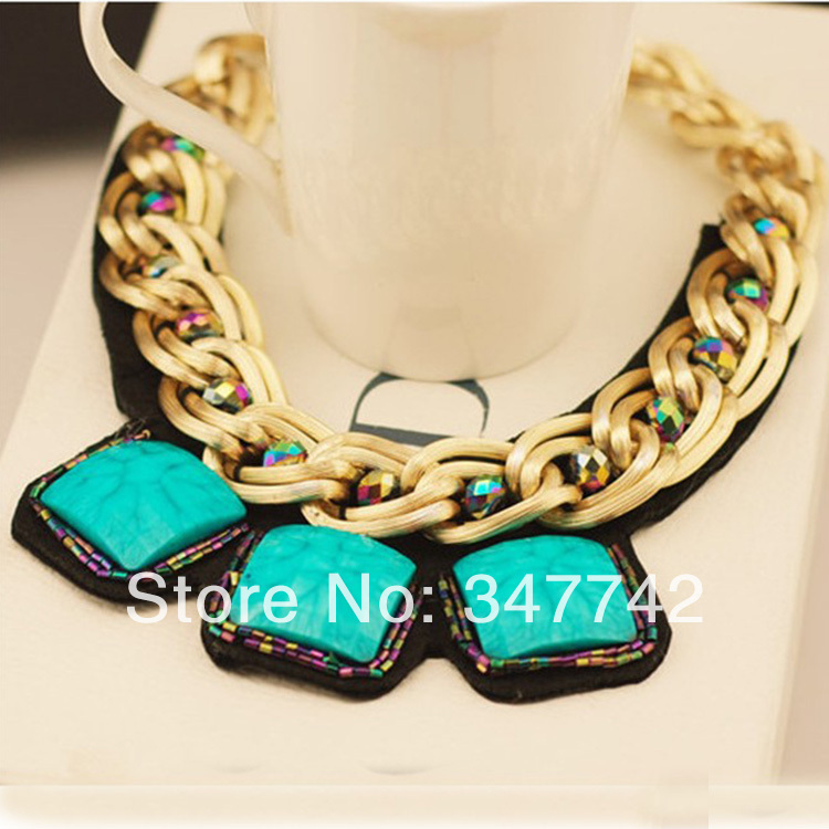 2014 hotting sale statement necklace, colorful resin necklace,fashion newest necklace - YiWu Bebillion Jewelry store