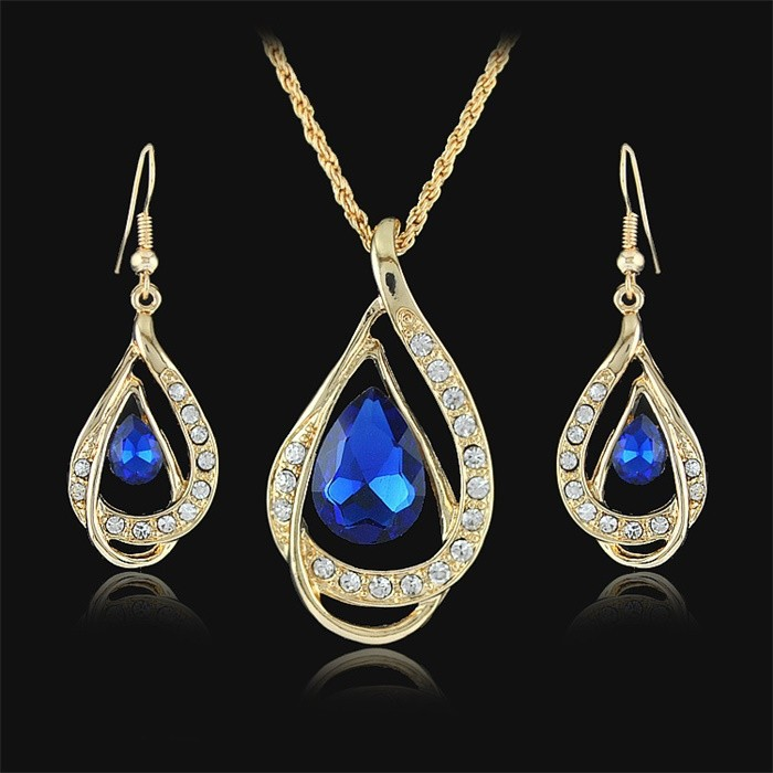 Galaxy fashion water drop bridal jewelry sets 18k yellow for Drop shipping jewelry business