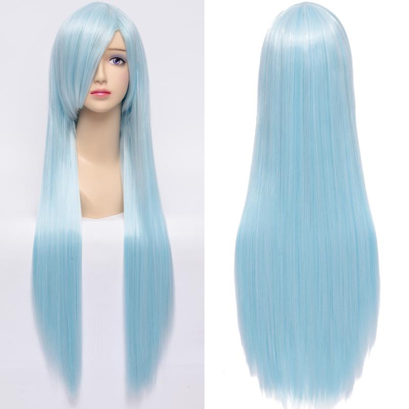 New Kuroko no Basket Kuroko Tetsuya Cosplay Wig Fashion Women Ice Blue Long Synthetic Hair Anime Wigs 80cm Cos-0086<br><br>Aliexpress