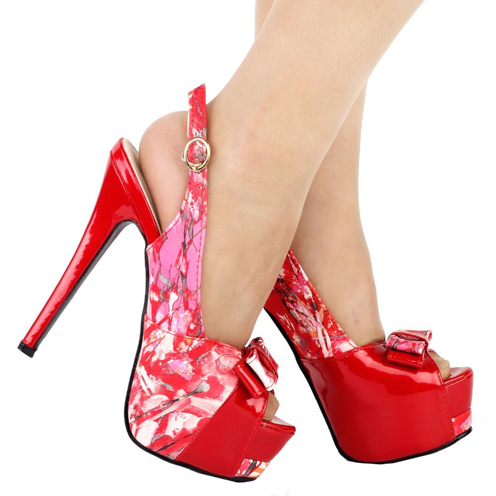 ซื้อ LF80904 Fabสีแดงดอกไม้โบว์Peep Toe Slingbackแพลตฟอร์มกริชอีฟปั๊มขนาด4 5 6 7 8 9
