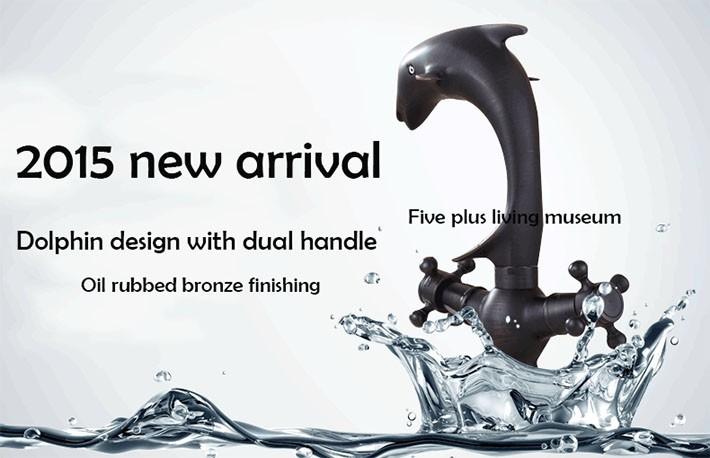 Купить Дельфин дизайн черный faucets античная бронзовая ванной античная латунь бассейн кран орб бассейна YM-037A