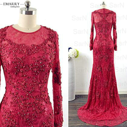 Lace Burgundy Long Sleeve Prom Dress 2016 Mermaid ...