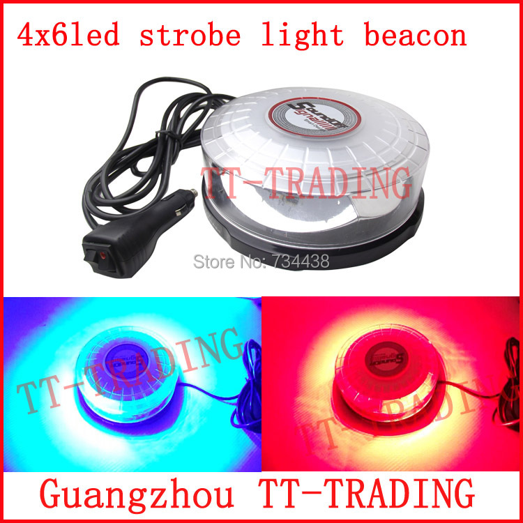 New 24 led Police strobe lights super bright vehicle flash lamp car Emergency led strobe beacon with magnet RED BLUE AMBER DC12V