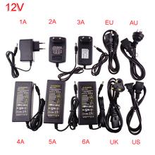 Power adapter supply for led strip EU/US/UK/AU for AC110-220V to DC12V 1A 2A 3A 4A 5A 6A 10A cord 4 options plug transformer(China (Mainland))