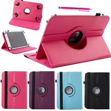 360 Rotating Universal PU Leather Stand Case Cover For 10 inch Android Tablet Cases For Samsung iPad Prestigio w/Stylus Pen(China (Mainland))