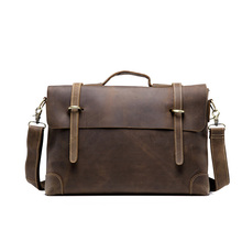 Trend new sell  men's crazy horse genuine leather vintage laptop briefcase messenger shoulder attache portfolio tote T0780(China (Mainland))