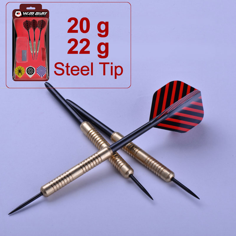 Steel Tip Darts Set of 3, 22 Grams and 20 Grams with Steel Barrel and 9 PET Flights (4 Styles) , 3 Nylon Shafts, Dart sharpener(China (Mainland))