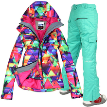 Free shipping waterproof jacket Gsou snow ski suit set womens snowboard jackets mountain ski suit women skiing clothing set(China (Mainland))