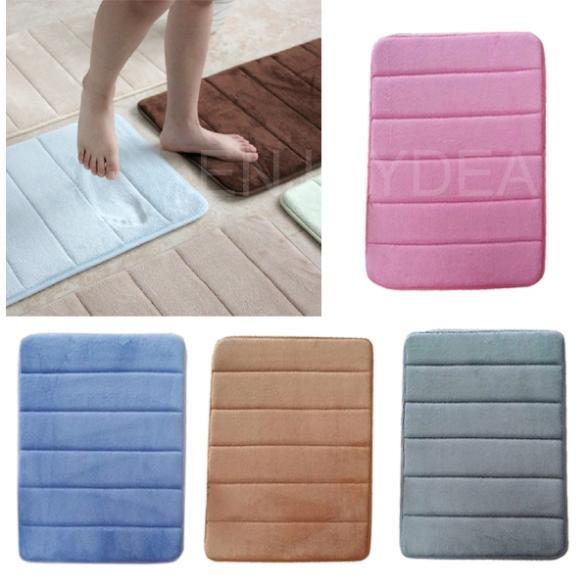 New Modern Memory Foam Bath Rug Non Slip Contemporary Bathroom Microfiber Mat
