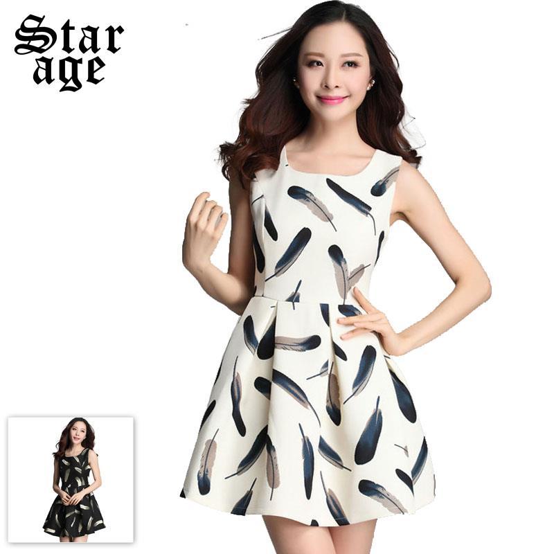 XL-XXXXL Elegant Ladies Vintage Feather Print Sleeveless Dress Spring Runway Fashion Plus Size Women Casual Tank Dresses 3657(China (Mainland))