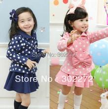 Hot sell ,New autumn /spring baby girl's bow long sleeve top coat+skirt 2pcs cloting set ,(1set/lot)(China (Mainland))