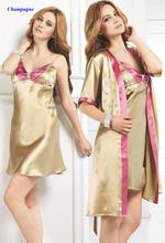 100% natural silk female sleepwear set,heavy pure silk spaghetti strap robe twinset,100% heavy silk nightgown set,19 momme(China (Mainland))