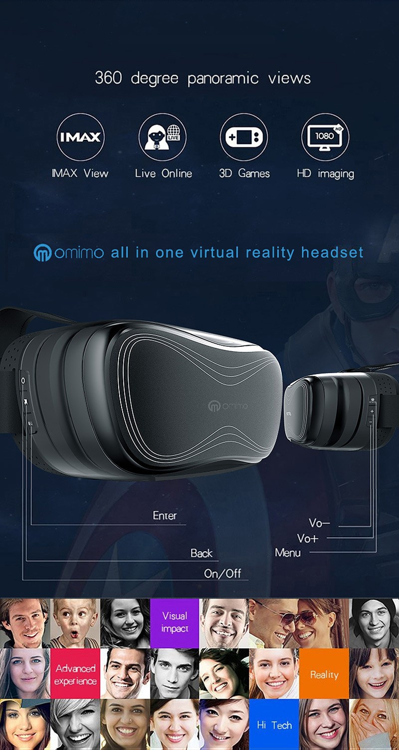 Newest Omimo Immersive Virtual Reality VR 3D Video Glasses Android Octa-Core Cortex-A7 CPU HDMI WiFi Bluetooth Display Eyewear