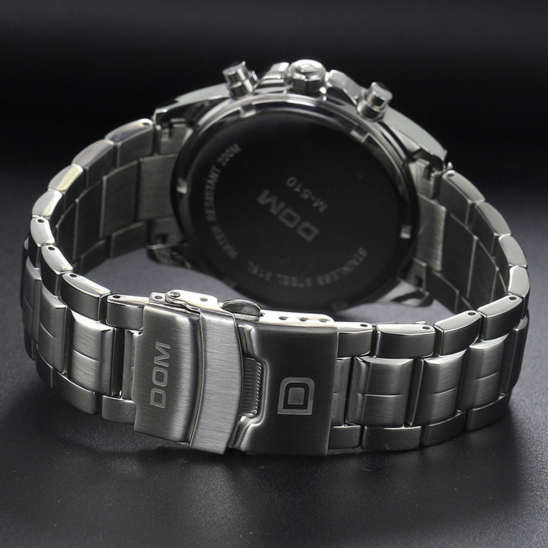 DOM men authentic business waterproof luminous steel belt multi function watch