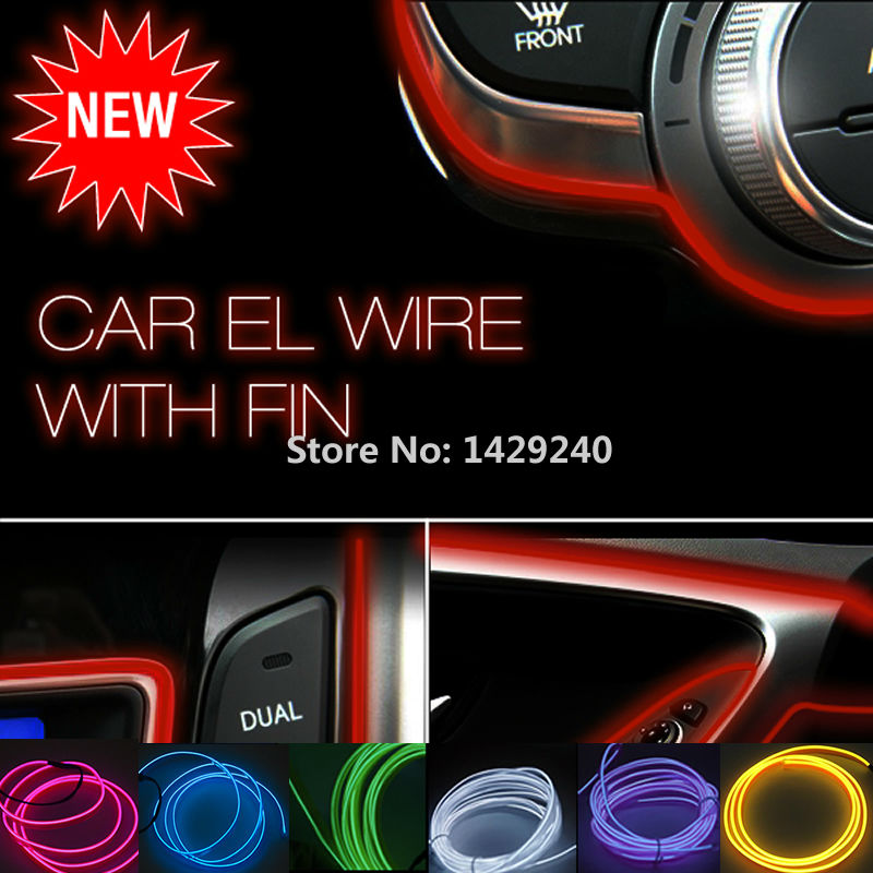 Red 5m Flexible Moulding EL Neon Glow Lighting Rope Strip with fin for Car Decoration #RZS4635X(China (Mainland))