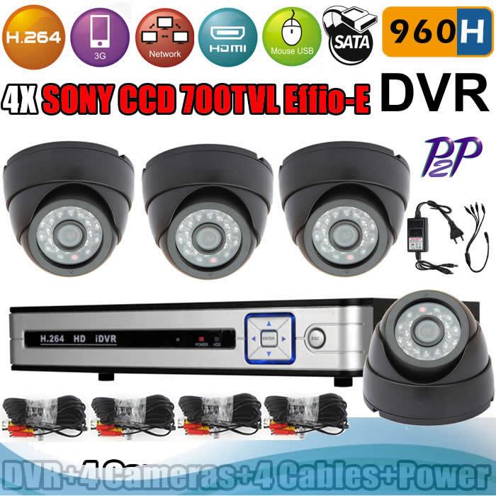 New 4ch 960H DVR and 4 Dome Indoor cameras CCTV DVR Kit SONY CCD Effio-E 700 TVL IR day /night surveillance camera(China (Mainland))