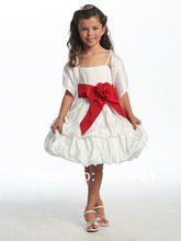 Spaghetti Straps Flower Girl Dress Knee- length Custom Made Dress With Red Sash Communion Dress