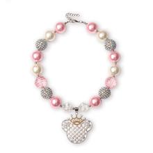 2 Pcs Kawaii rose perles collier filles Minnie Mouse couronne strass pendentif Chunky Bubblegum collier parti tout-petits bébé cadeau(China (Mainland))