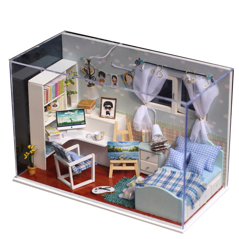 Popular wood dollhouse kits buy cheap wood dollhouse kits for One bedroom home kits