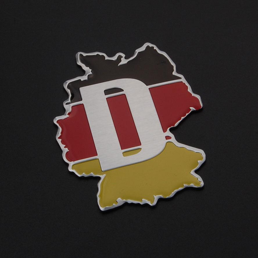 German D Logo Germany Map Flag Boot Fit For VW Golf Polo Passat GTI CC Bora PAssat Tiguan Car Rear Trunk Badge Sticker Aluminum(China (Mainland))
