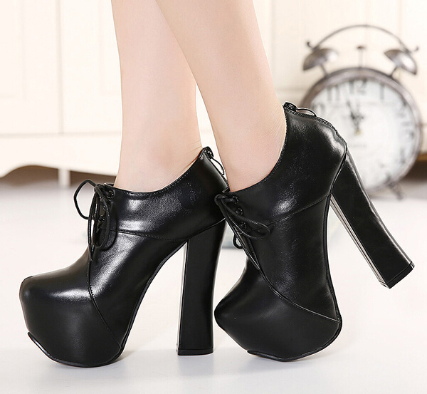 winter autumn boots new fashion ankle boots for women lace up boots chunky high heels platform pumps women shoes heels D186